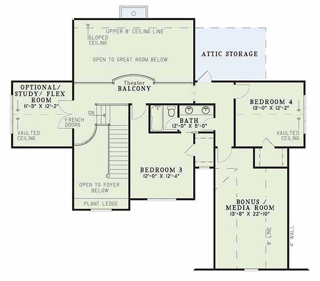 Craftsman Style House Plan - 4 Beds 3 Baths 2755 Sq/Ft Plan #17-2133 Upper Floor Plan - Houseplans.com