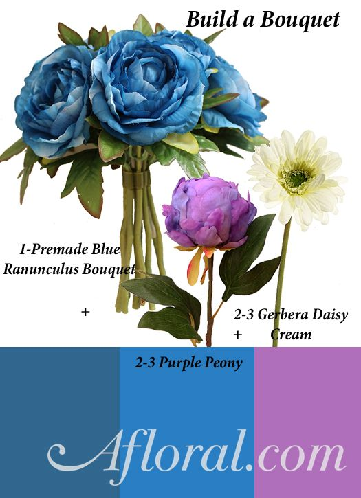 Blue Pre-made Bouquet dressed up with Purple Peony stems and Gerbera Daisies in Cream #DIYweddingflowers #afloral