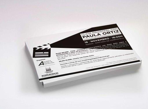 "Imagen Corporativa + Materiales ""Clase Maxistral con Paula Ortiz"". Cliente: Academia Galega do Audiovisual #diseño #design #cine #cinema"