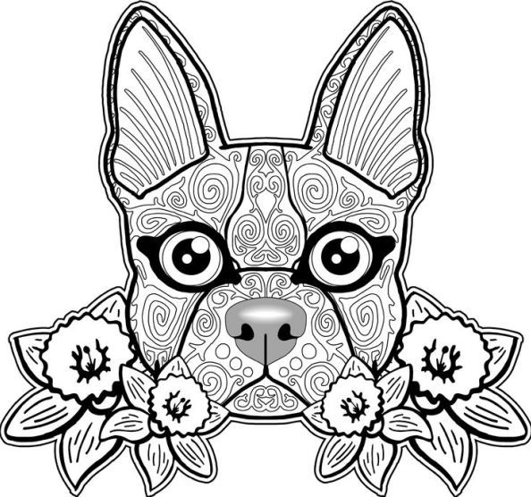 Adult Coloring Pages: Dog 2