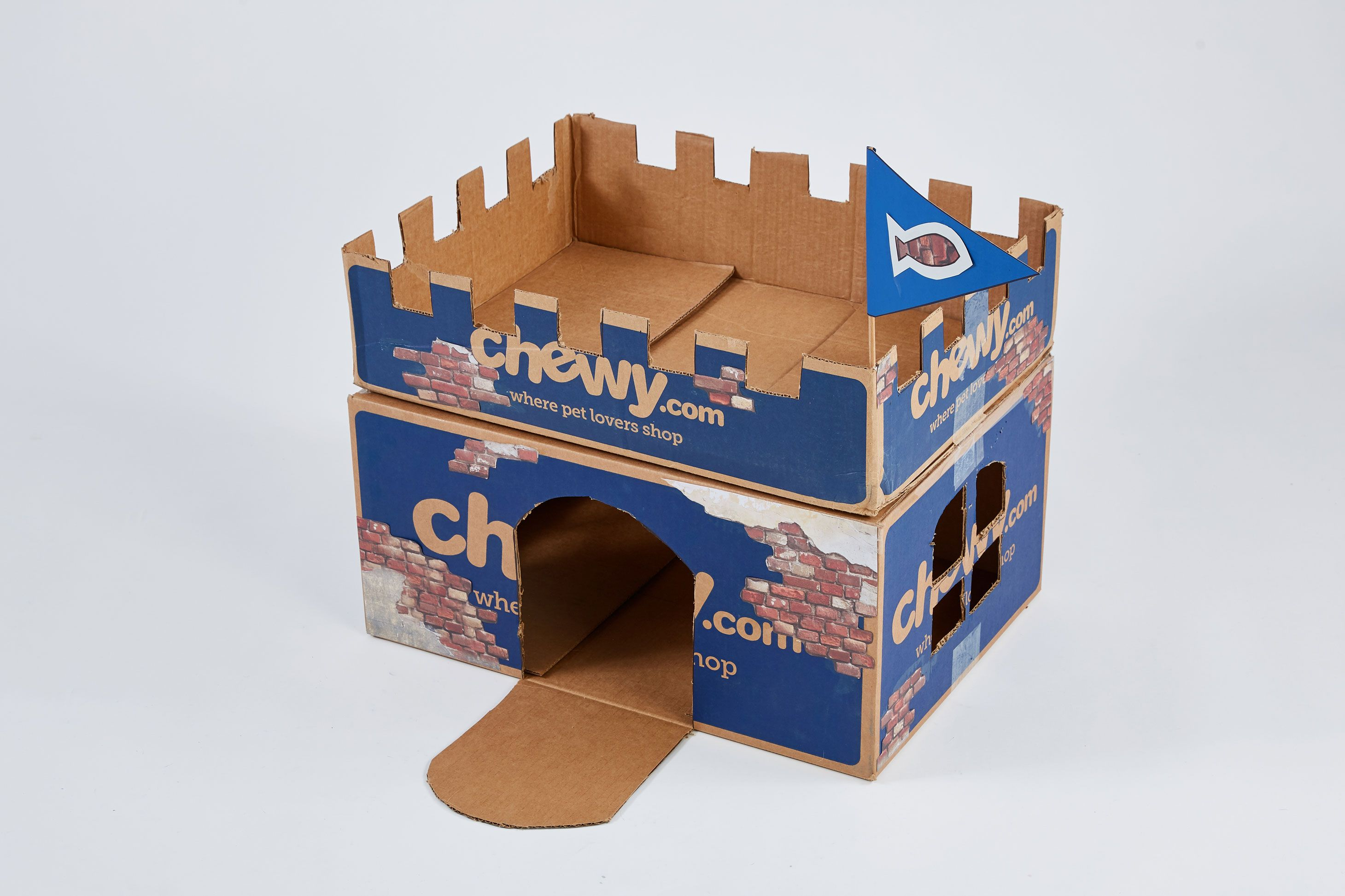Chewy Box Craft Diy Cat House Cat Furniture Castle Craft Cat House Diy Cat Castle Cardboard Cat House