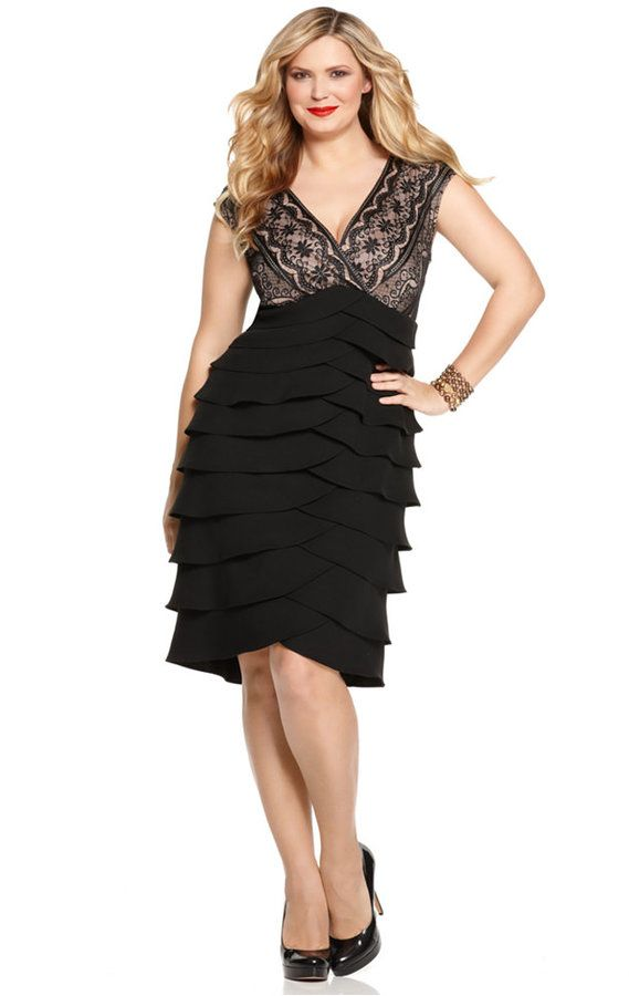 8ab5f9d6573 Jessica Howard Plus Size Lace Tiered Dress