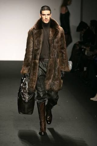 A men's fur coat with matching knee high boots. | My Style ...