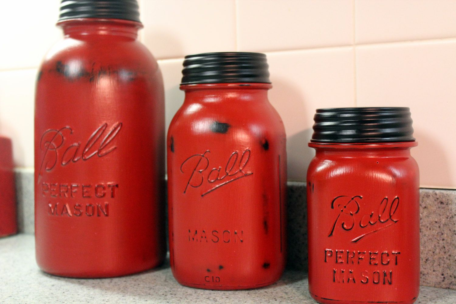 3 Piece Red Mason Jar Canister Set Kitchen By Hereonthefarm, $4500  Decor   Pinterest  Canister Sets, Kitchens And Kitchen Sets