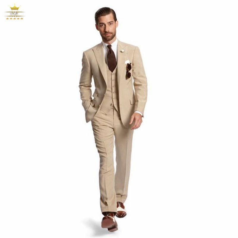 Champagne Grooms Mens Tuxedos Custom Wedding Suits For Men With Pants Peak  Lapel Two Buttons Jacket