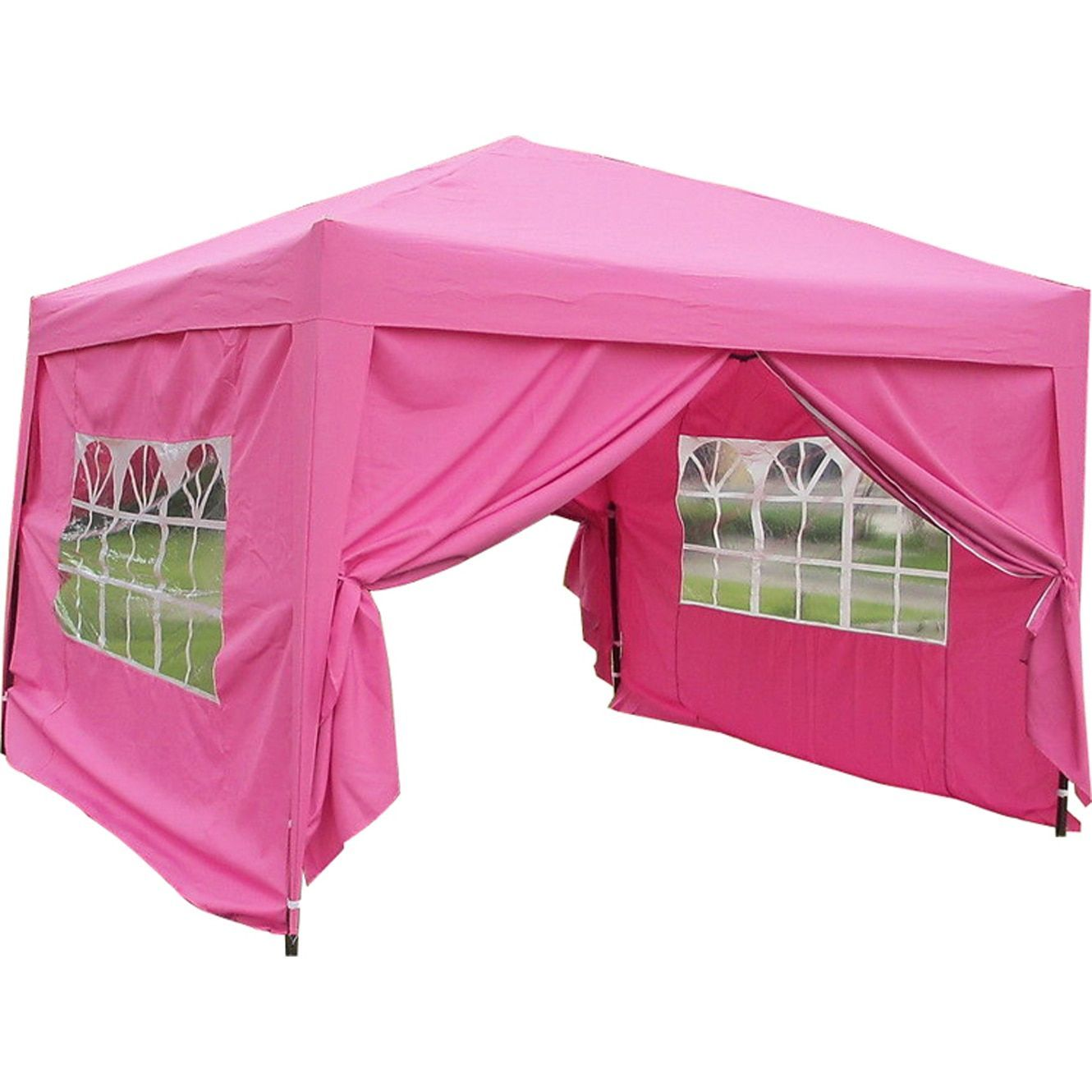 Mcombo 10x10 Ft Ez Pop Up 4 Walls Canopy Party Tent Gazebo With Sides Pink10 X10 Ezpop Up Canopy Tent Pink Size 10 X 10 Fabric 6051 Products Canop