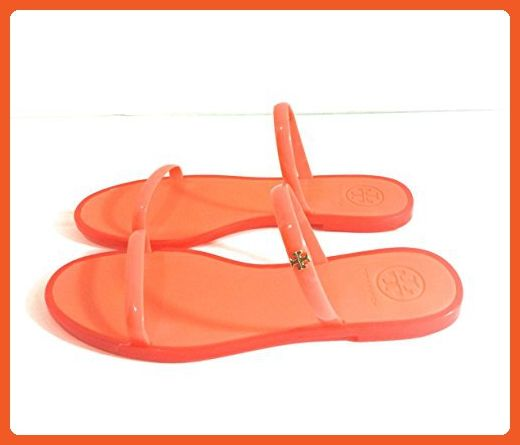 516275e882dd0 Tory Burch Women's Poppy Coral Two-Band Jelly Slide Sandals Size 7 ...