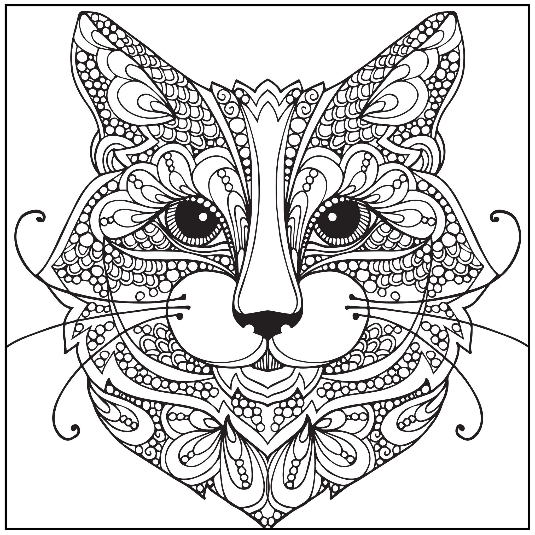 Stress relieving cats coloring - Color With Music Wild About Cats Adult Coloring Book Blank Page
