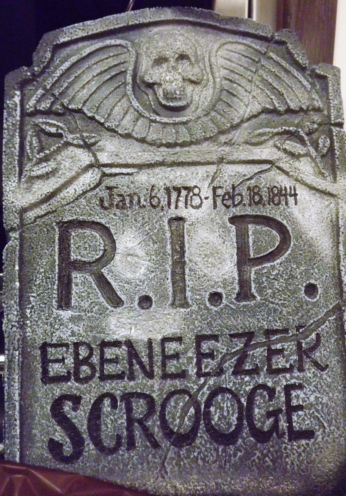 Christmas Carol Ebenezer Scrooge Headstone | Right: Ebenezer Scrooge sees his future … | Scrooge ...