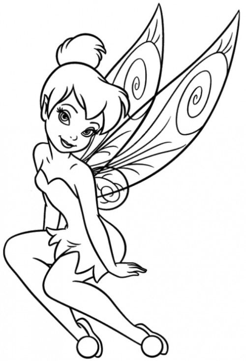 Tinker Bell Is Beautiful And Attractive Coloring Page Sewing