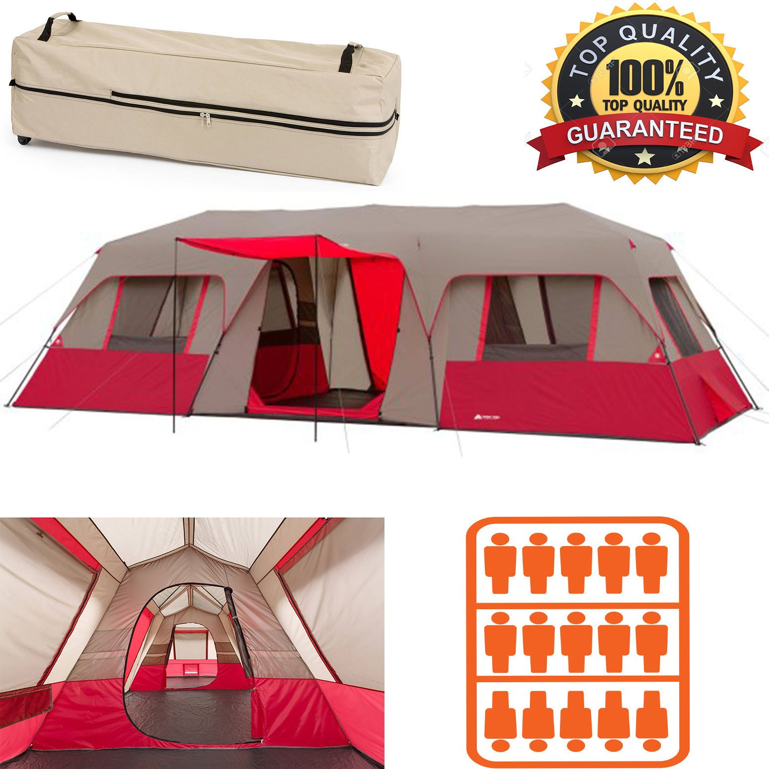 Ozark Trail 15 Person Instant Cabin Large Tent C&ing Split Plan Family 3-Room  sc 1 st  Pinterest : 15 person tent - memphite.com