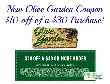 Save $10 off a $30 Purchase at Olive Garden | Olive gardens, Coupons ...
