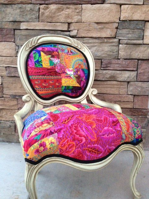 Reupholstered French provincial chair at Fiber and Fire.  Kaffe Fassett fabric.