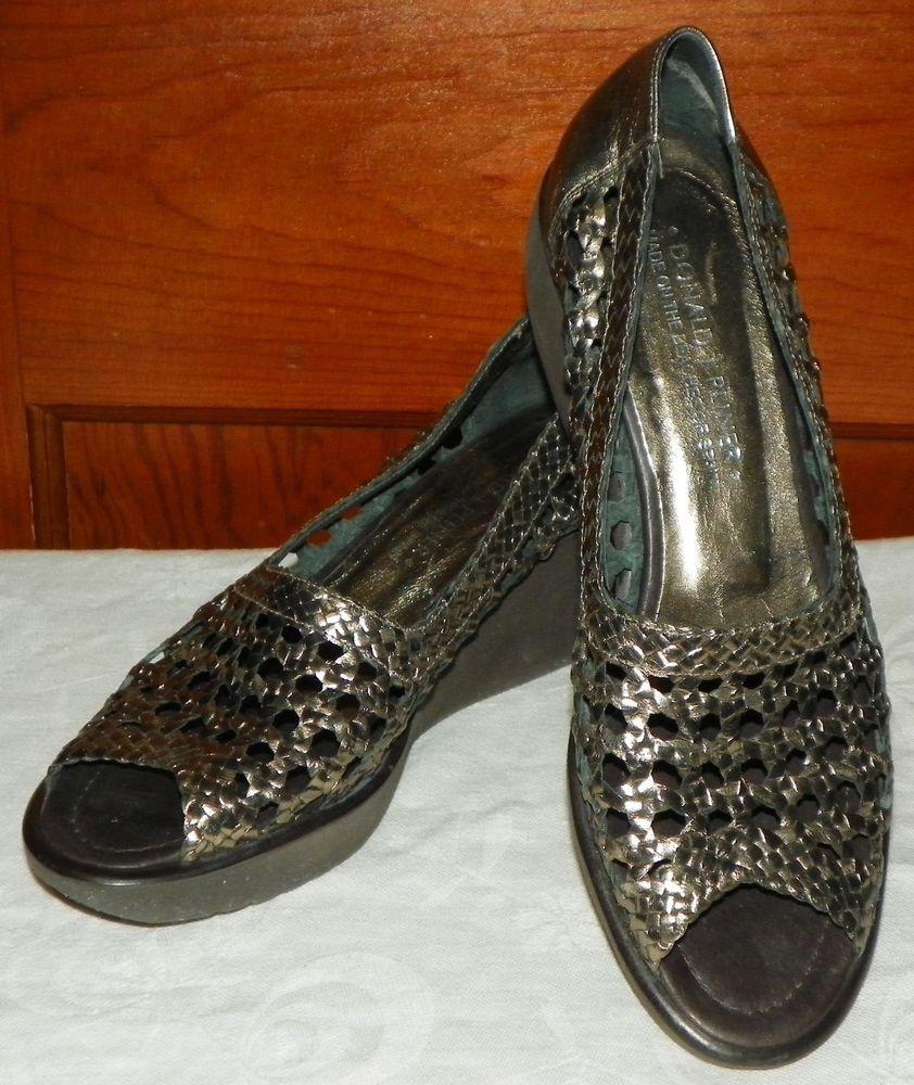 90b46b45384 Donald J Pliner NEVA Gold Metallic Leather Weave Wedge Sandals Size 9 M   DonaldJPliner  PlatformsWedges