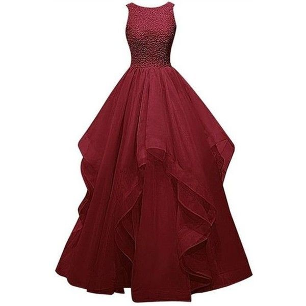 Dresstells Women's Long Straps Chiffon Prom Dress Ruffles Evening... ❤ liked on Polyvore featuring dresses, chiffon dresses, red chiffon cocktail dress, red prom dresses, red ruffle dress and cocktail prom dress