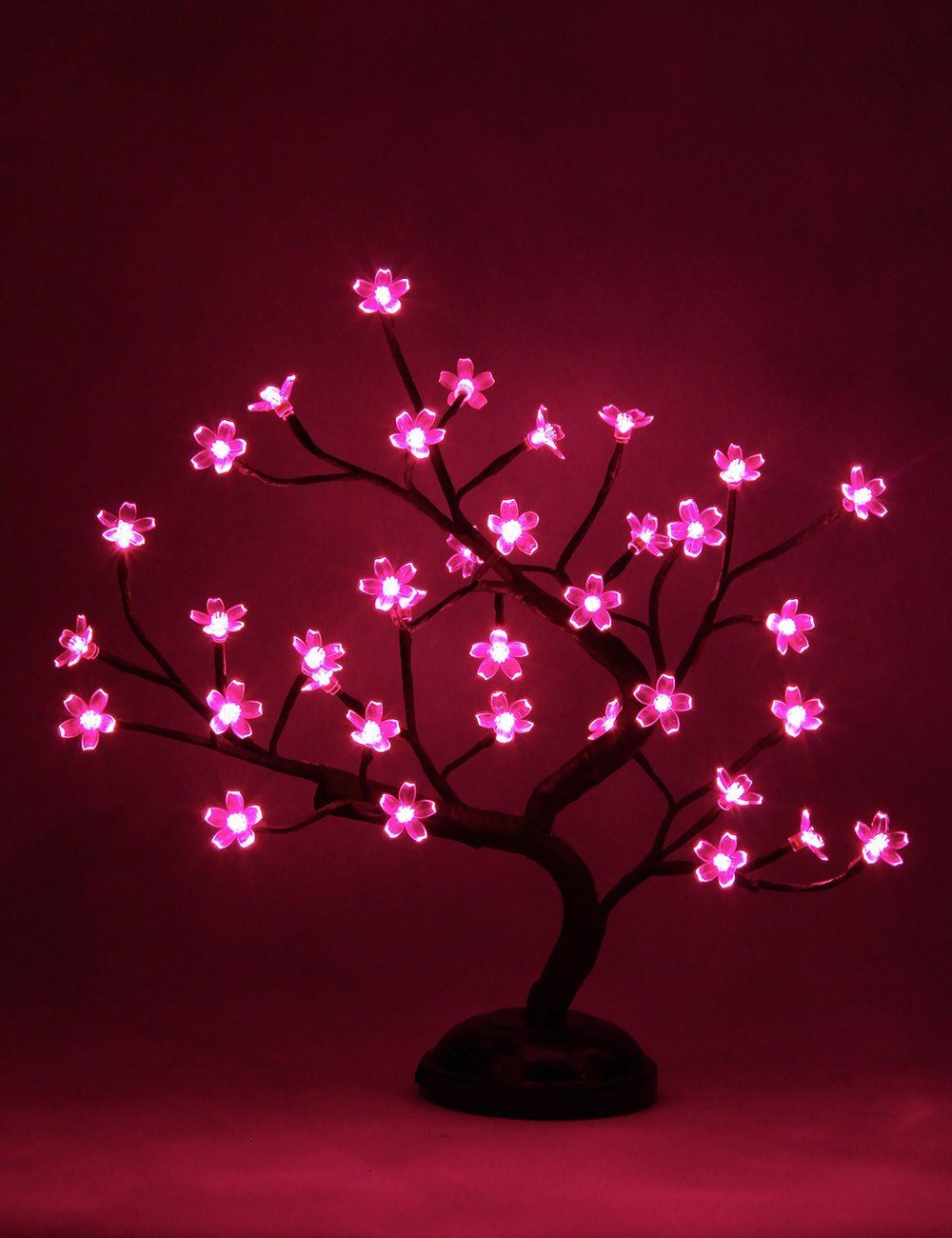 Lightshare New 16inch 36led Cherry Blossom Bonsai Light Pink Light Battery Powered For Home Decoration Christmas Night Light Cute Night Lights Decor