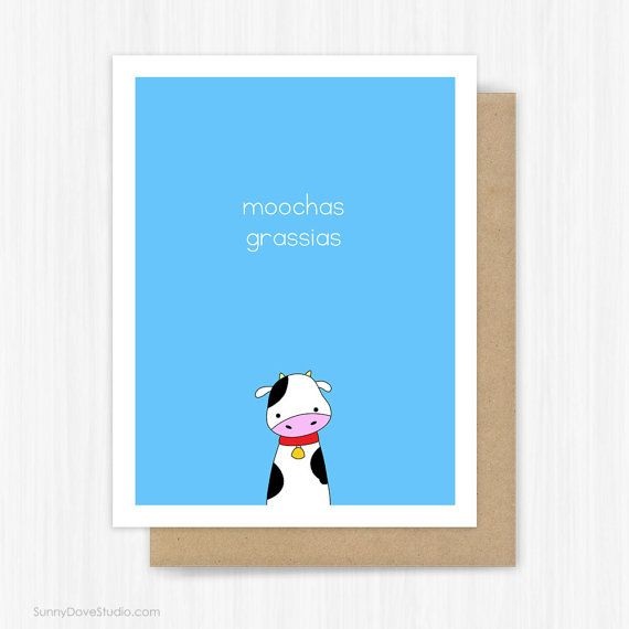 Funny Thank You Card For Friend Her Him Thanks Notes Notecards Cute Fun Cow Pun Birthday Gifts Blank Note Gracias Handmade Greeting Cards Moochas Grassias