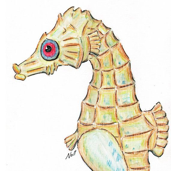 Seahorse Art Card  Print from original by natureartstudio on Etsy, $4.00