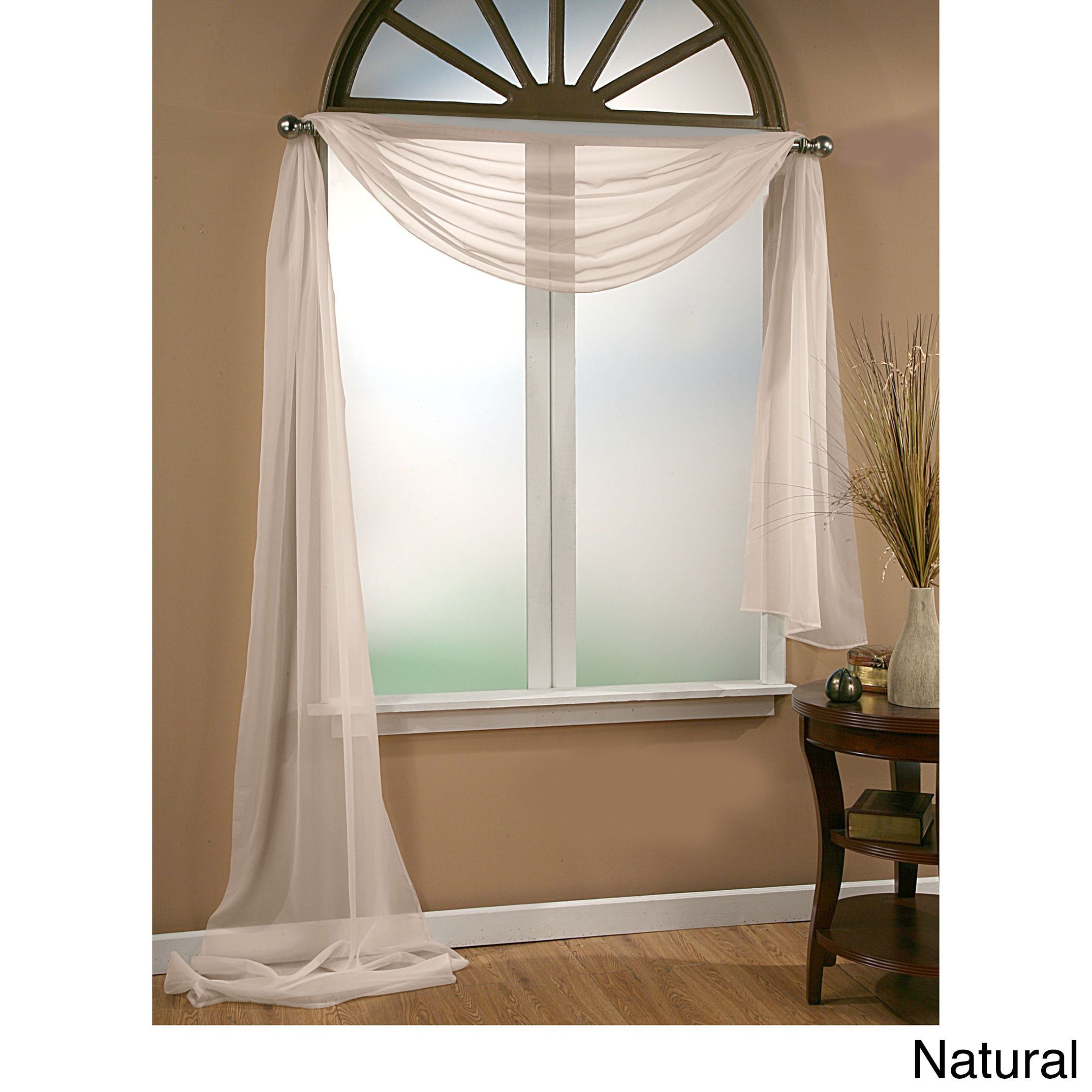 Superior Infinity Sheer Window Scarf Valance***white.. Family Room/living Room