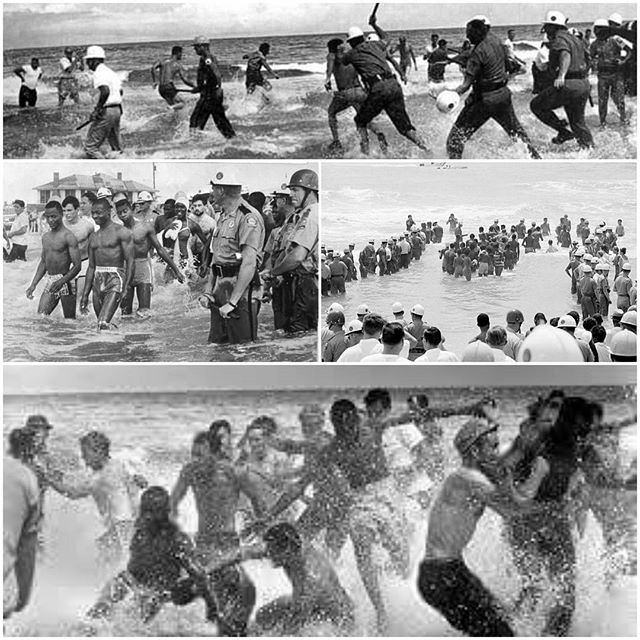 """The St. Augustine Movement (1963-64) was part of the wider Civil Rights Movement. Influenced by sit-ins taking place all over the South wade-ins were an effective tactic in exposing racial segregation of unequal public facilities - in this case the """"colored beach"""" being an uninhabited inconvenient and hard-to-reach strip of land (unreliable ferry trips to access a beach with no facilities shelter tables or bathrooms). Of course they were met at the beaches by law and order (code word for…"""