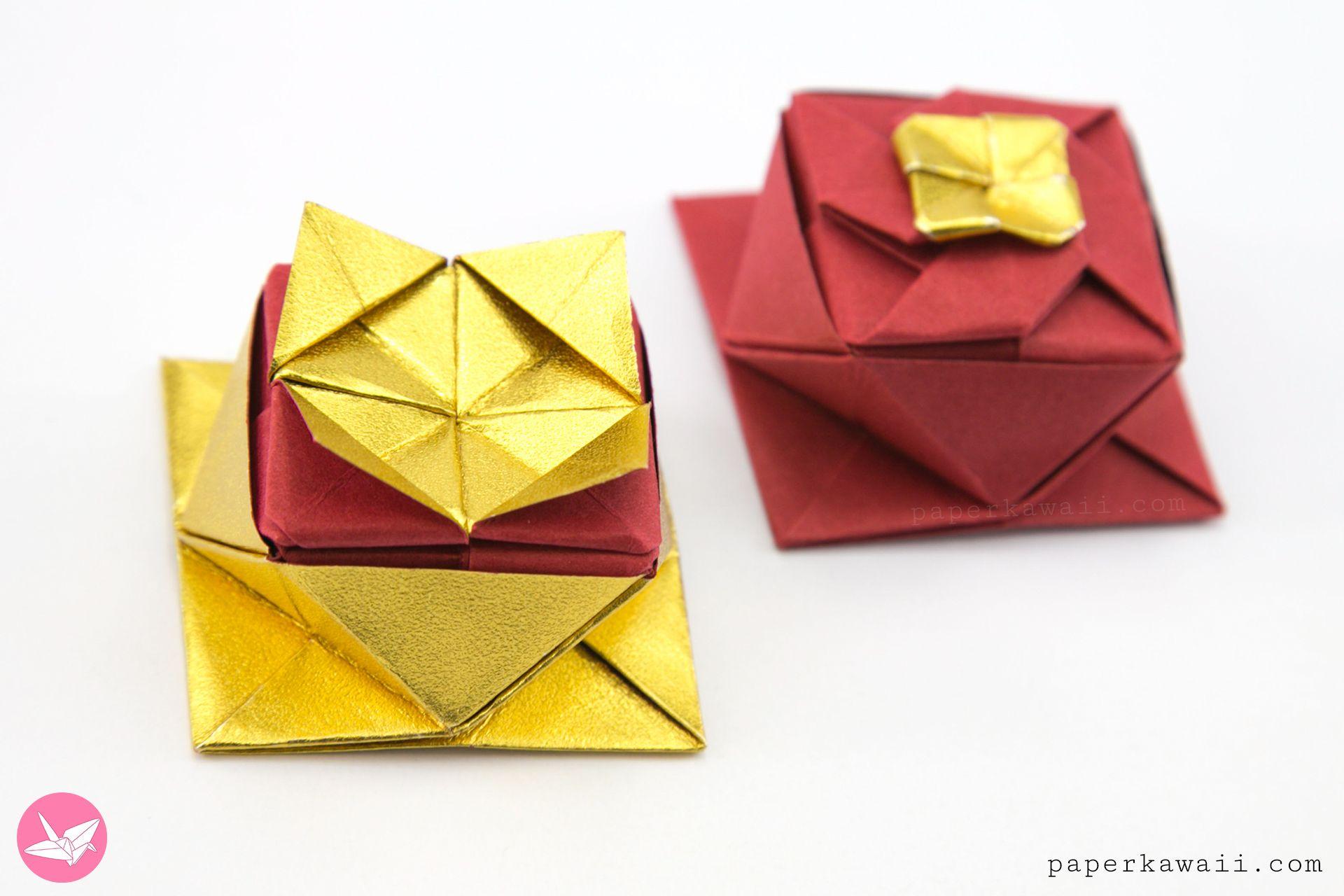 Origami Square Twist Box Tutorial Paper Kawaii Origami Origami Box Square Paper