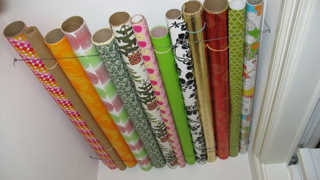 Hang Wrapping Paper Rolls In A Closet Ceiling Gift Wrap Storage