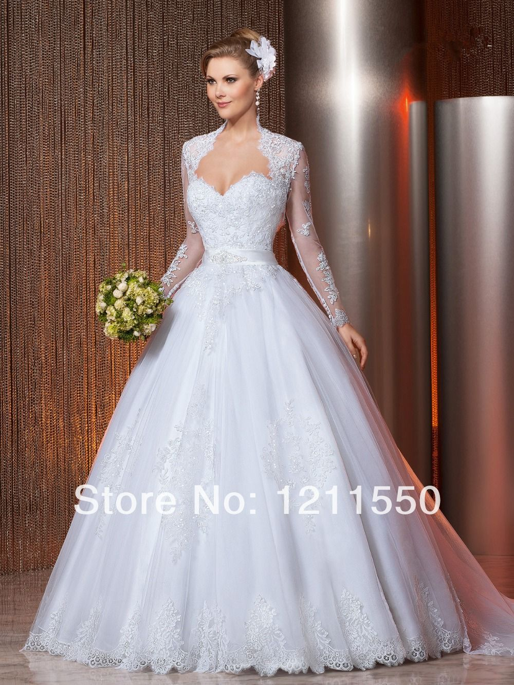Ball gown sweetheart beading lace long marriage wedding dress