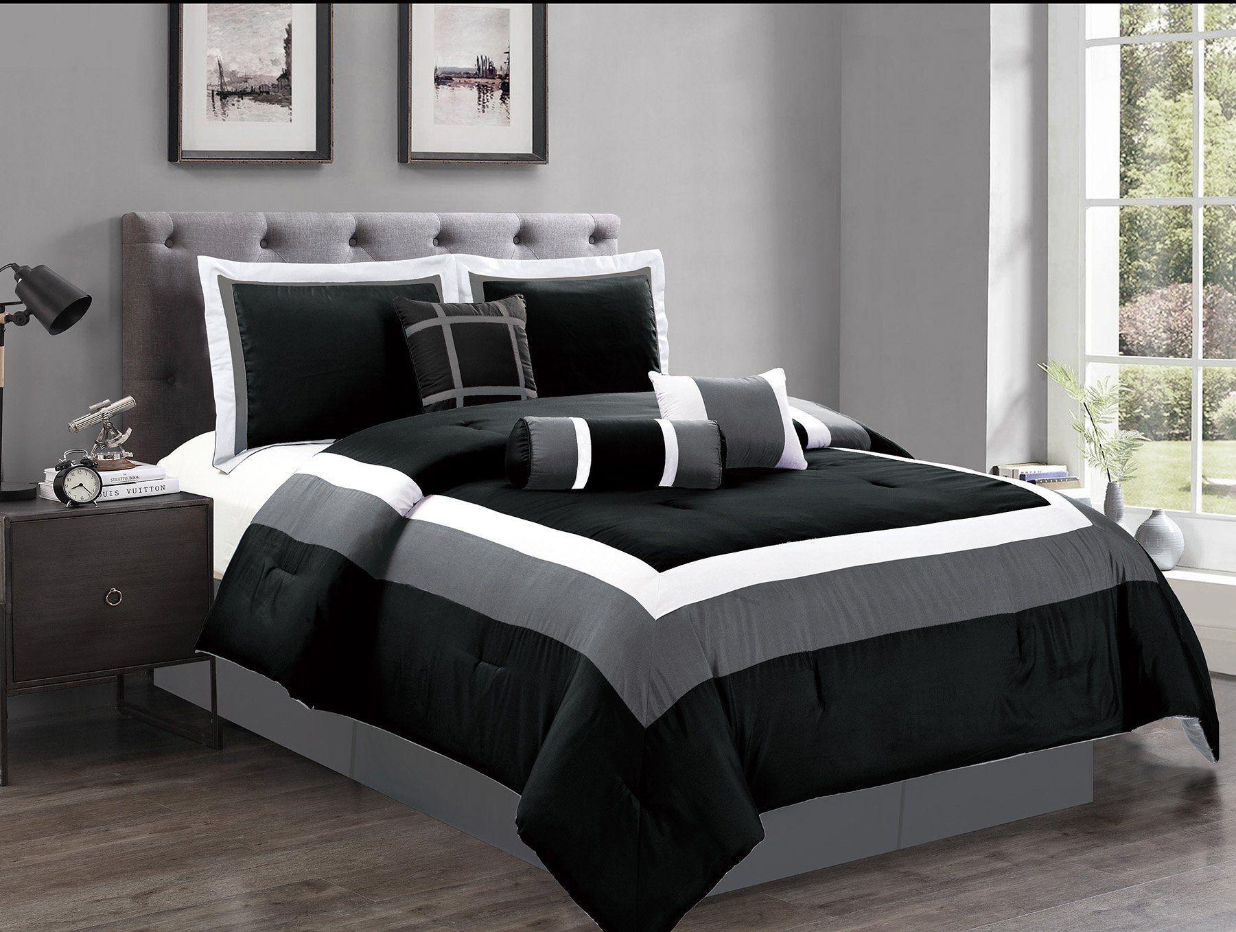 7 piece king size black white grey color block milan goose down