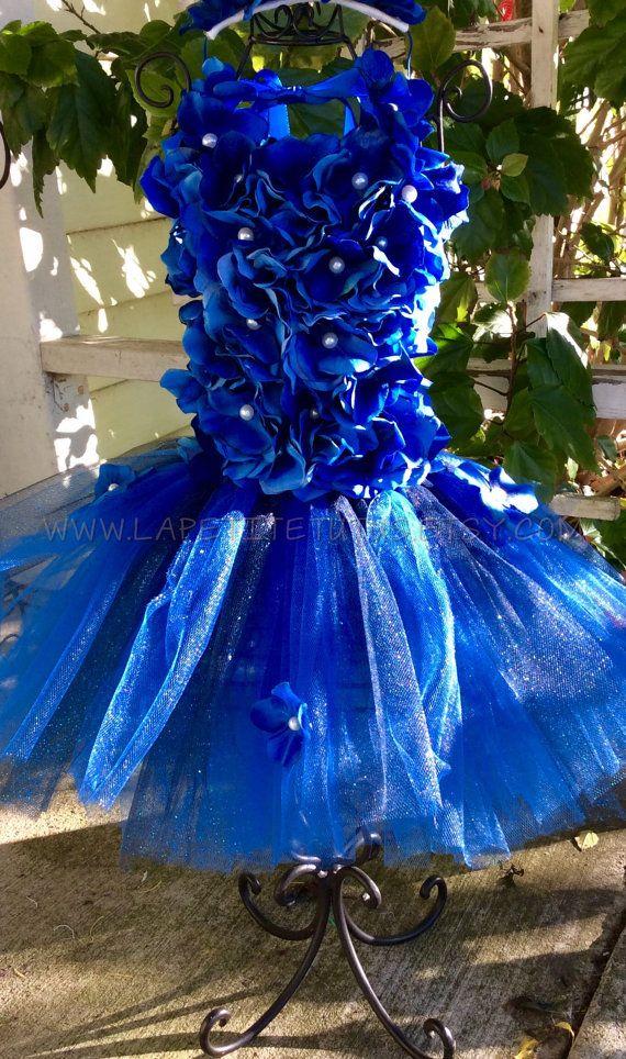 Blue flower girl toddler floral pearl tutu dress cake
