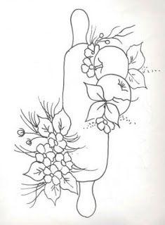 Creaciones Mariluz Pano Con Palo Amasar Flores Y Manzanas Dibujos En Tela Patrones De Bordado Pintura En Tela Flores
