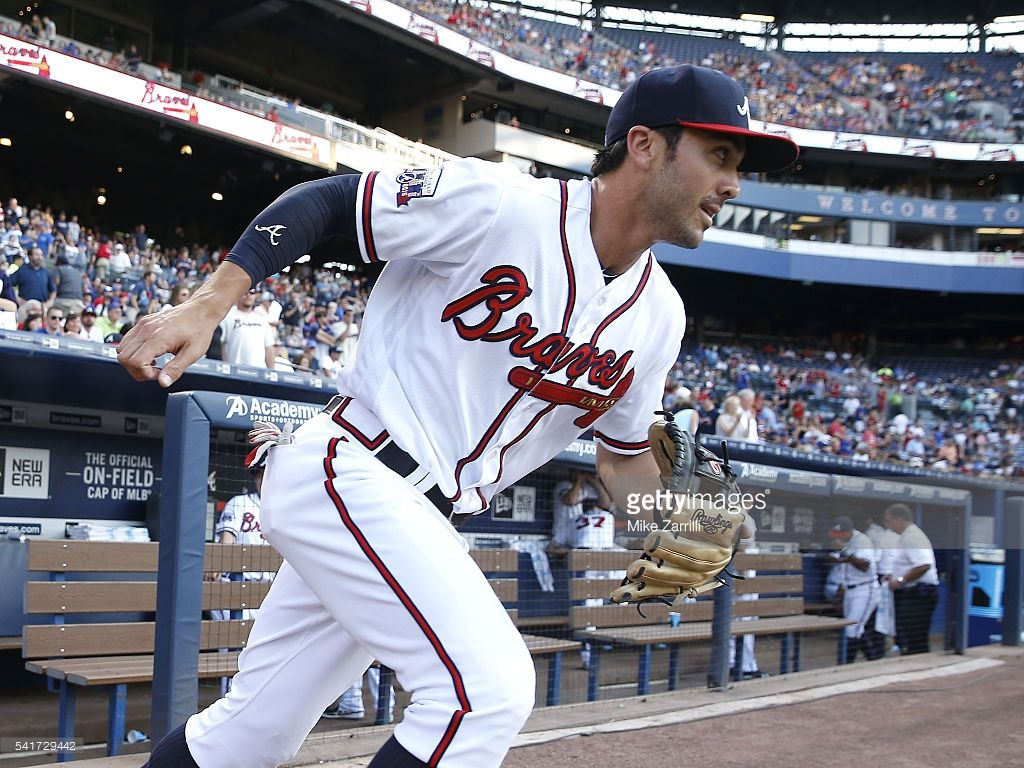 Third Baseman Chase D Arnaud 23 Of The Atlanta Braves Runs On The Field At The Start Of The Game Against The Chi Atlanta Braves Atlanta Braves Baseball Braves