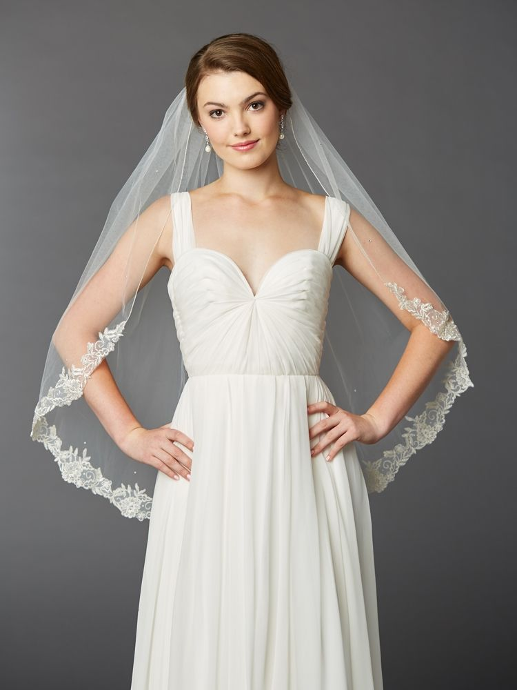 Lace Edge Fingertip Wedding Veil 4414V