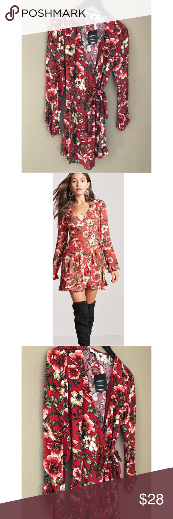 Red wrap style floral print dress nwt wrap style absolutely