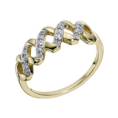 9ct Gold Diamond Eternity Cross Ring- H. Samuel the Jeweller