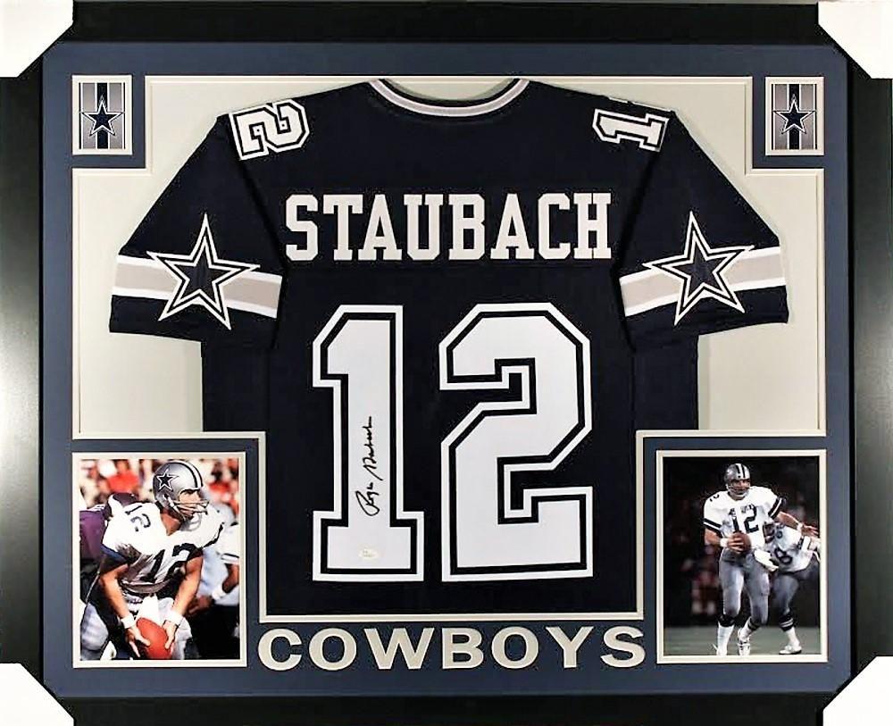 90757d4277f Roger Staubach Signed Cowboys 35x43 Custom Framed Jersey (JSA COA ...