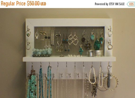 ON SALE Beautiful Painted White Wall Mounted Jewelry Organizer Wall