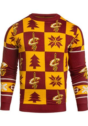 low priced 66f2a a10d7 Cleveland Cavaliers Mens Maroon Patches Ugly Crew Neck ...