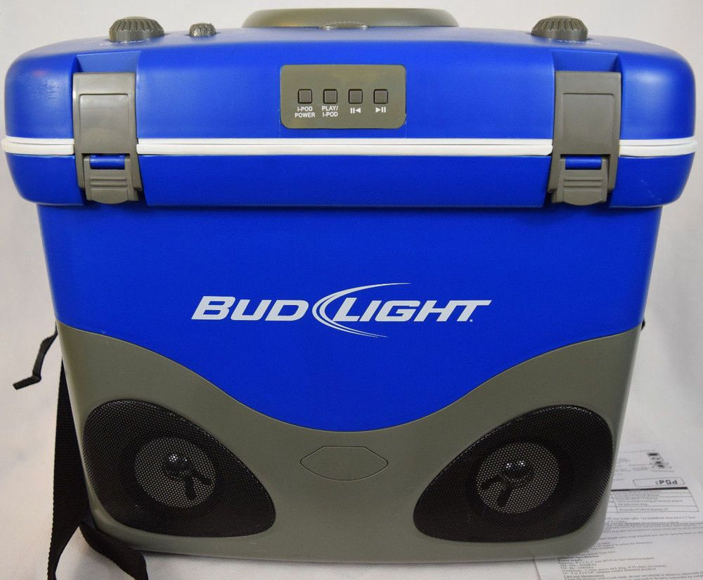 Portable Drink Cooler Bud Light Beer Ipod Dock AM FM Stereo Blue
