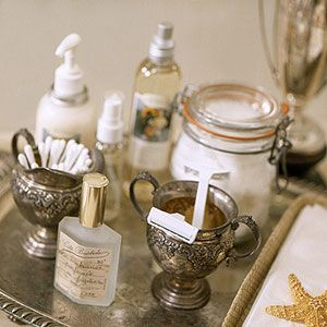 silver bathroom tray vignette