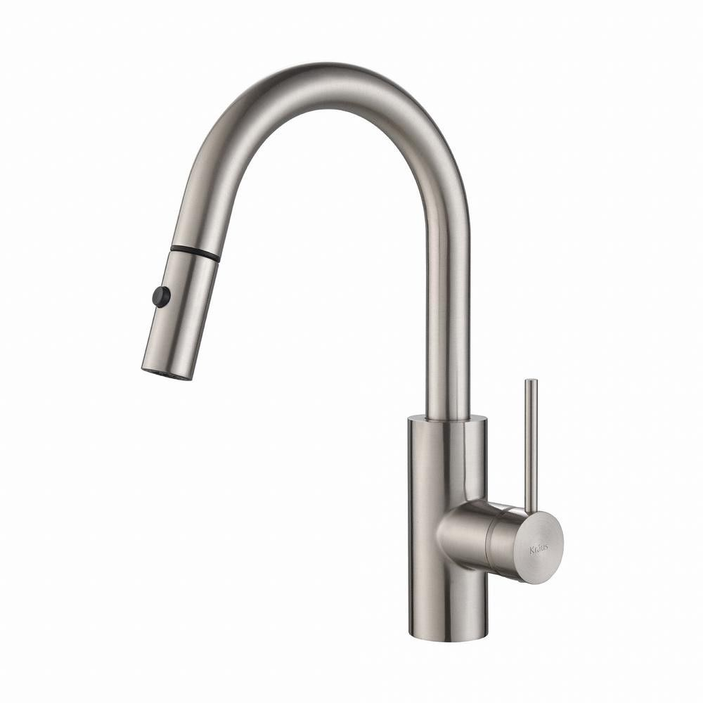 Kraus Oletto Single Handle Pull Down Spray Head Kitchen Faucet Stainless Steel Kraus Stainless Kitchen Faucet Install Kitchen Faucet Kitchen Faucet