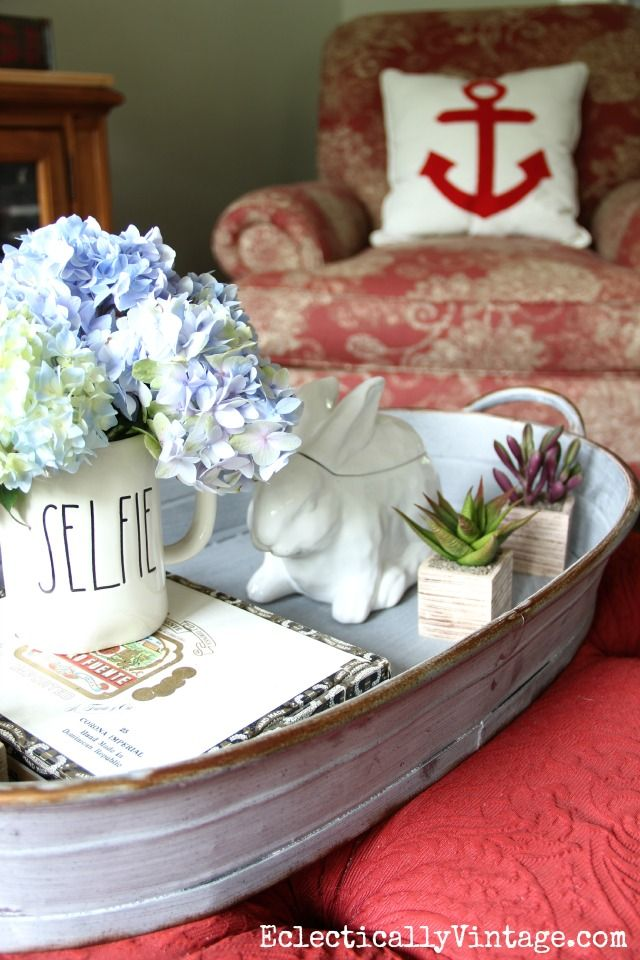 Summer Home Tour Decorating Ideas   Pinterest   Ottomans  Trays and     Love the huge tray on this red ottoman   perfect for display  eclecticallyvintage com