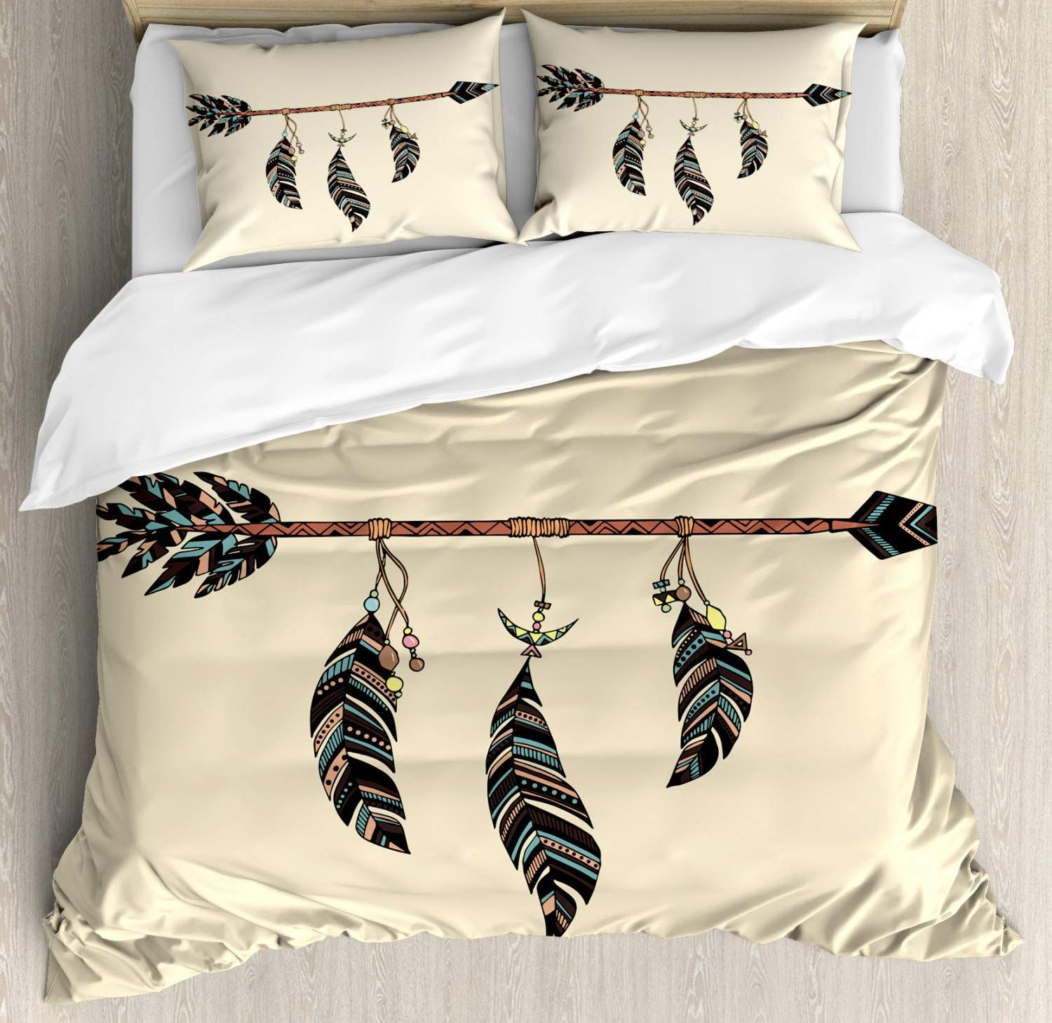 Arrow Decor Queen Size Duvet Cover Set By Ambesonne Arrow In Ethnical Pattern With Feathers De In 2020 Duvet Cover Sets King Size Duvet Covers Queen Size Duvet Covers