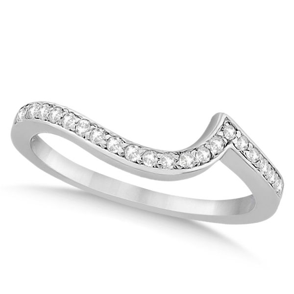 Pave Diamond Swirl Contour Wedding Band 14k White Gold 0 20ct In 2020 Swirl Engagement Rings Engagement Ring Wraps Wedding Ring Guard