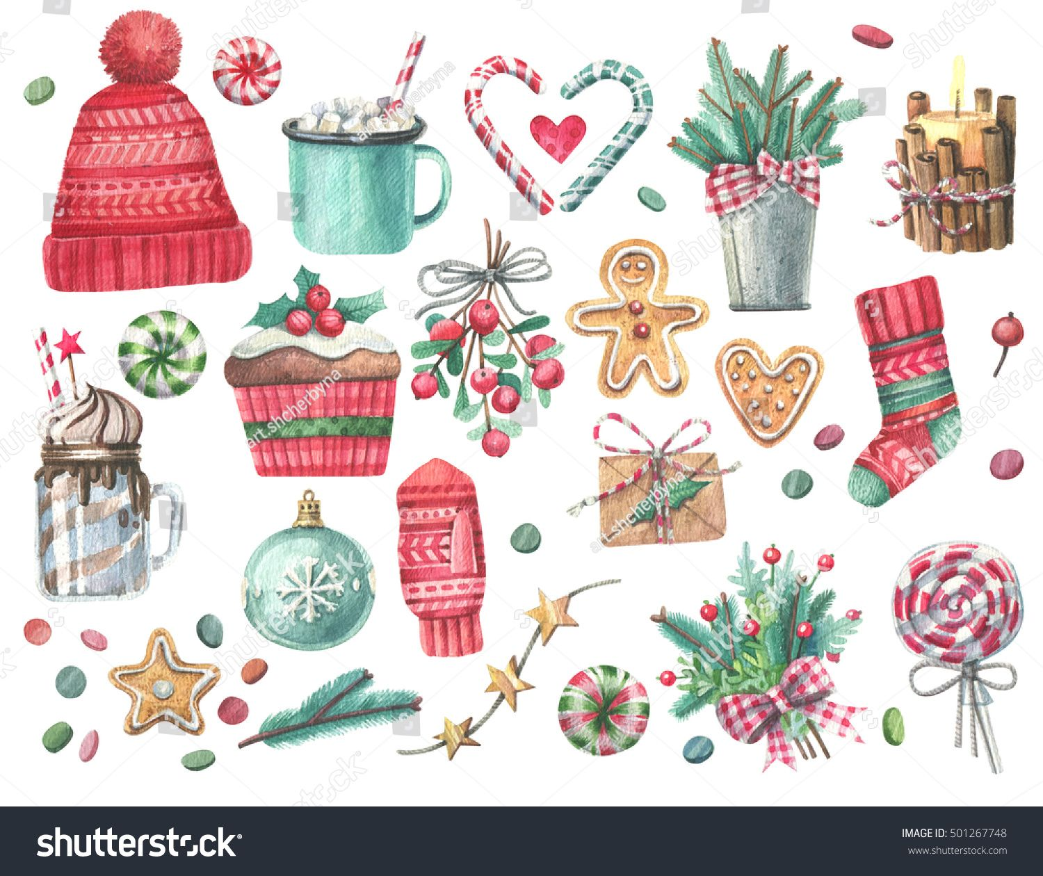 Set Of Christmas Decorations Watercolor Elements On A White Background