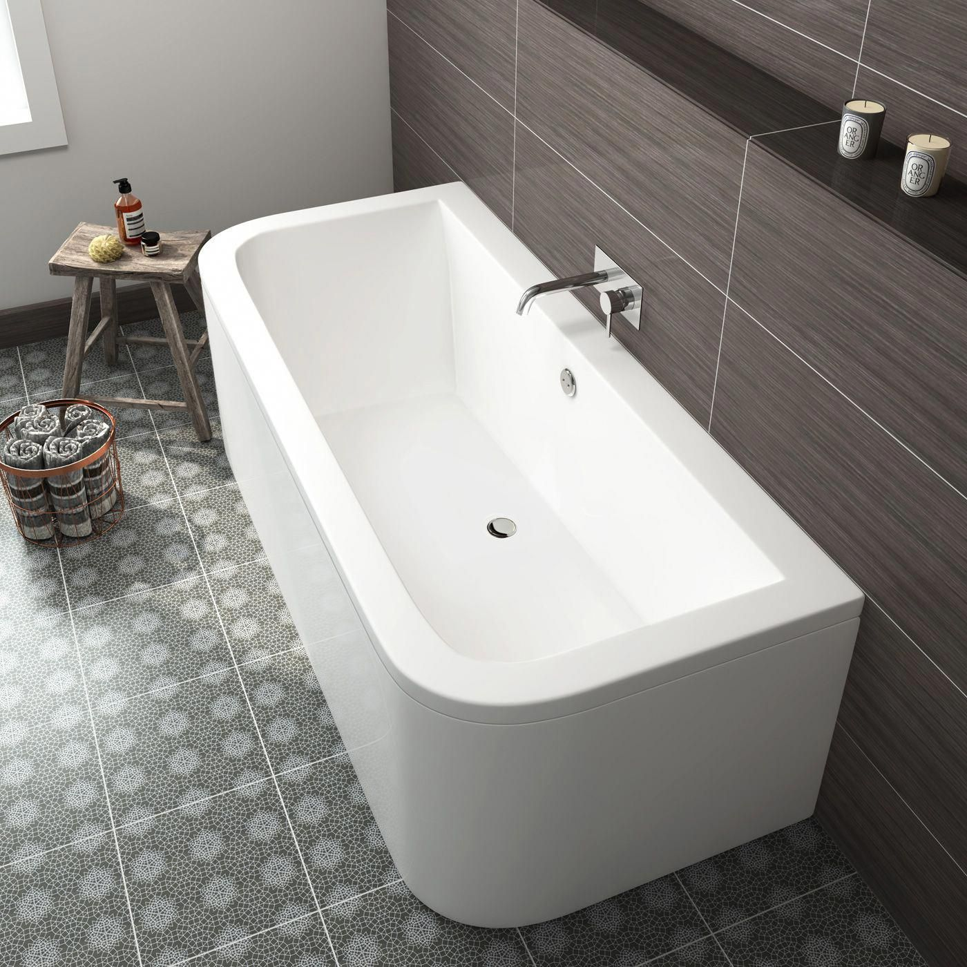 1700x750x460mm Back To Wall Bath Soak Com