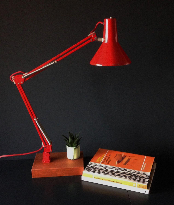 Repurposed Vintage Red Vde Anglepoise Desk Lamp Retro Etsy Anglepoise Desk Lamp Lamp