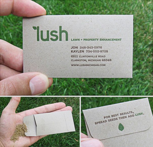 15 most unusual and interactive business cards branding ads he business cards were letter pressed by hand and stuffed with grass seed the best thing about them is when you hand one out the seeds shake and instantly colourmoves