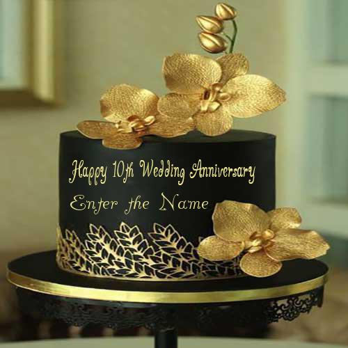 Happy 10th Wedding Anniversary Name Cake Enamewishes 10th Wedding Anniversary Wedding Anniversary Cakes Happy Wedding Anniversary Wishes