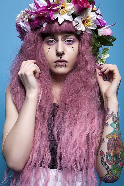 #flower #circlet #makeup #pink #tattoos #piercings #cinnamonstweardphotography #colourful #model #pose