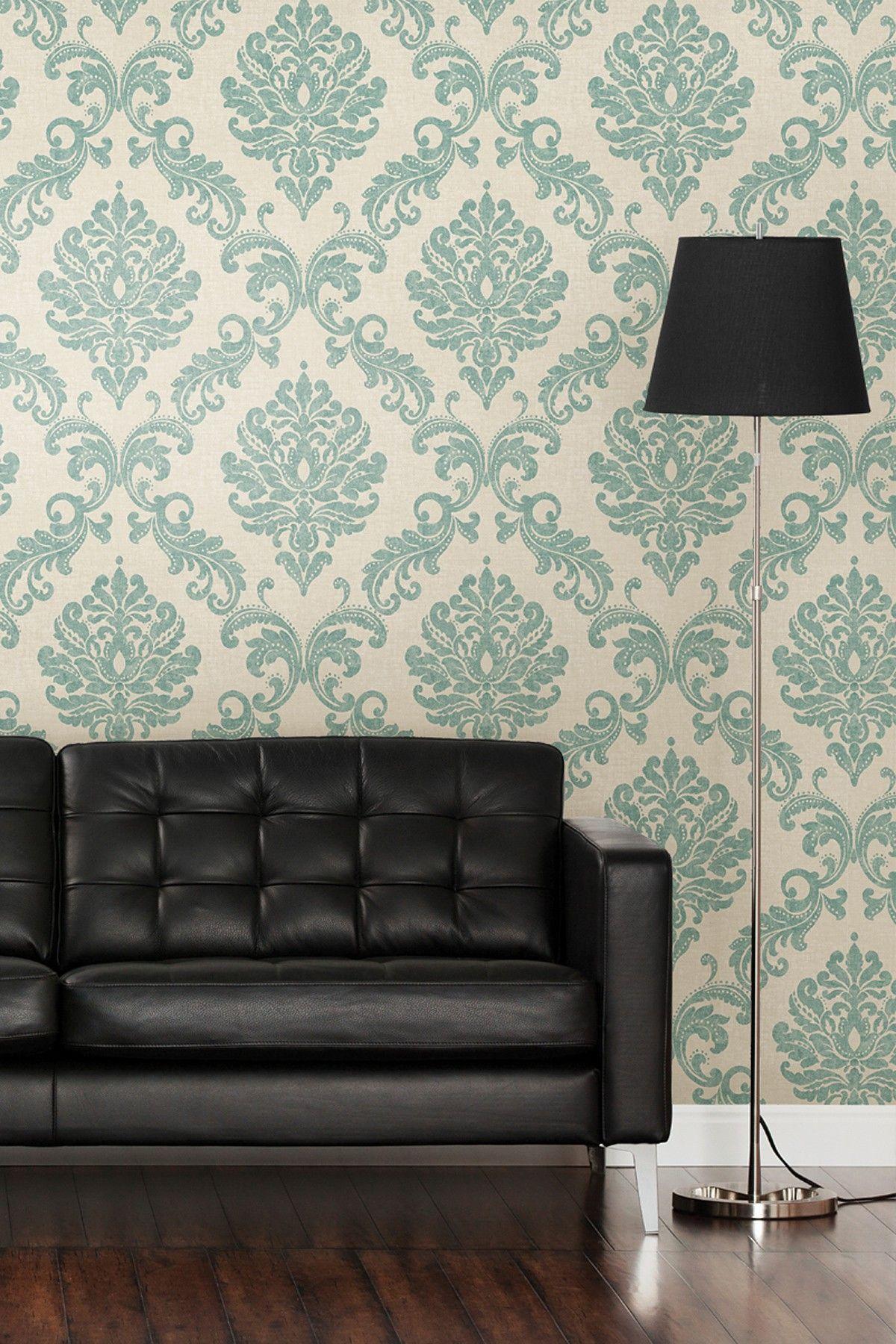 Best Sebastion Aqua Damask Wallpaper Master Bedroom House 400 x 300